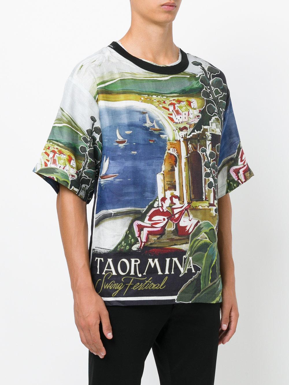 Dolce gabbana taormina printed t shirt in blue for men for Dolce and gabbana printed t shirts