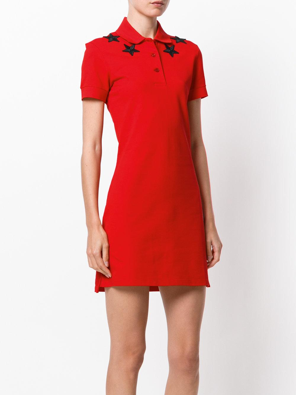 Lyst Givenchy Star Patch Polo Shirt Dress In Red