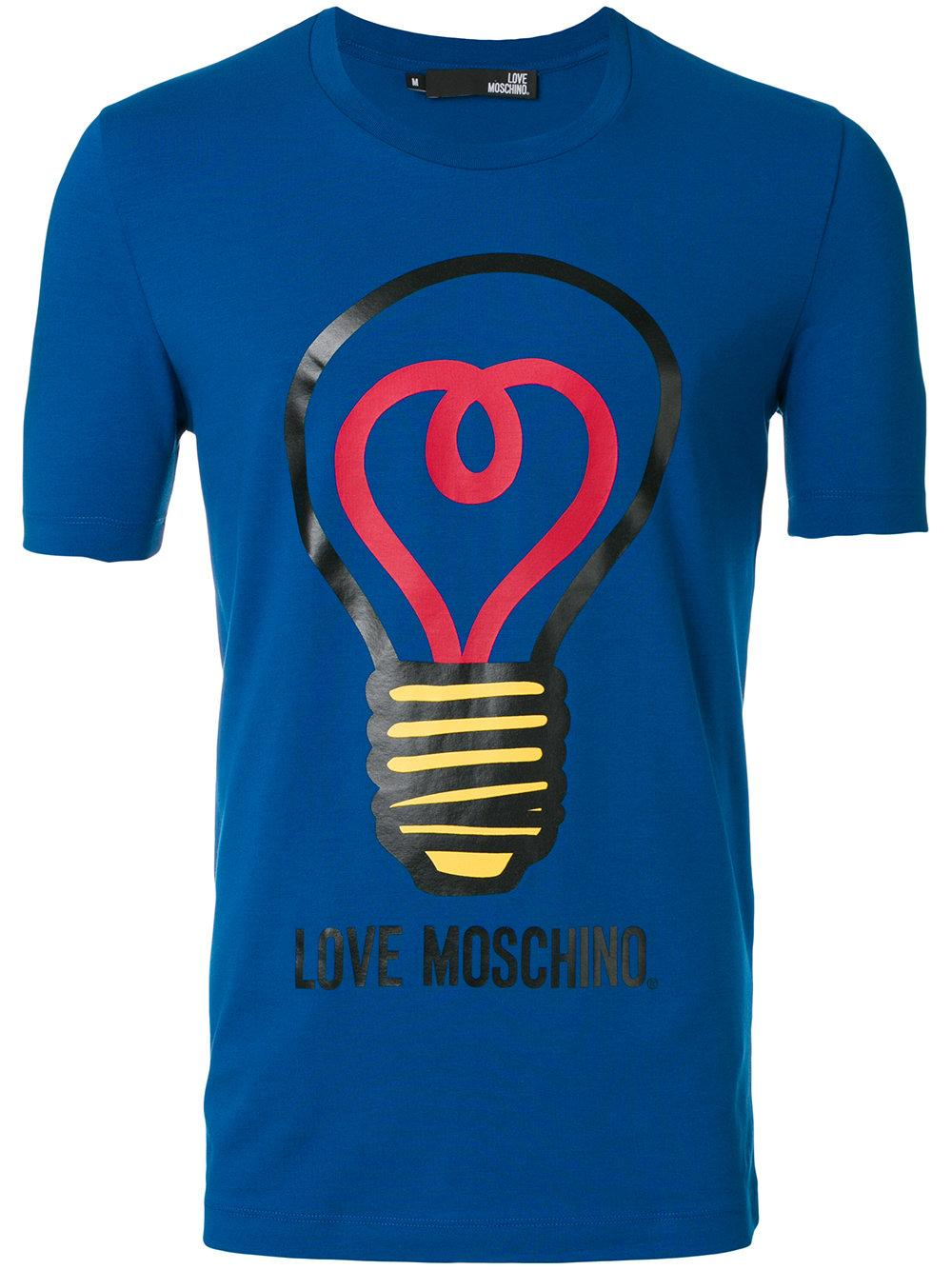 love moschino lightbulb print t shirt in blue for men lyst. Black Bedroom Furniture Sets. Home Design Ideas