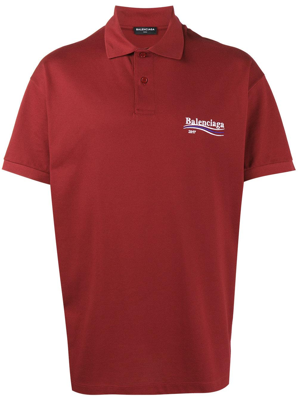 Lyst balenciaga oversized embroidered polo shirt in red for Balenciaga t shirt red