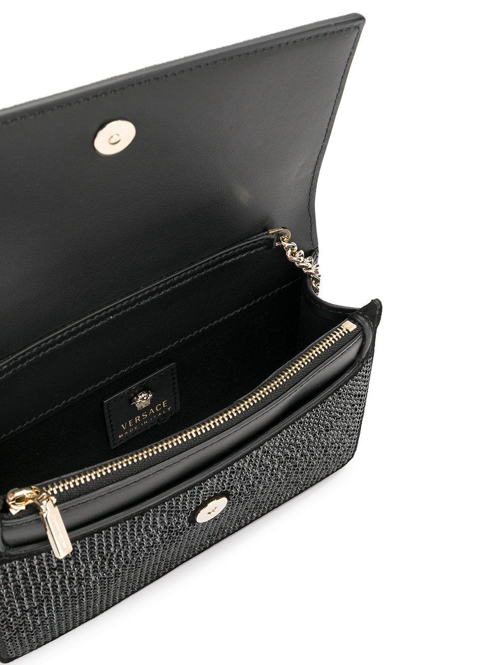22174a0c2f Lyst - Versace Crystal-embellished Medusa Palazzo Shoulder Bag in Black