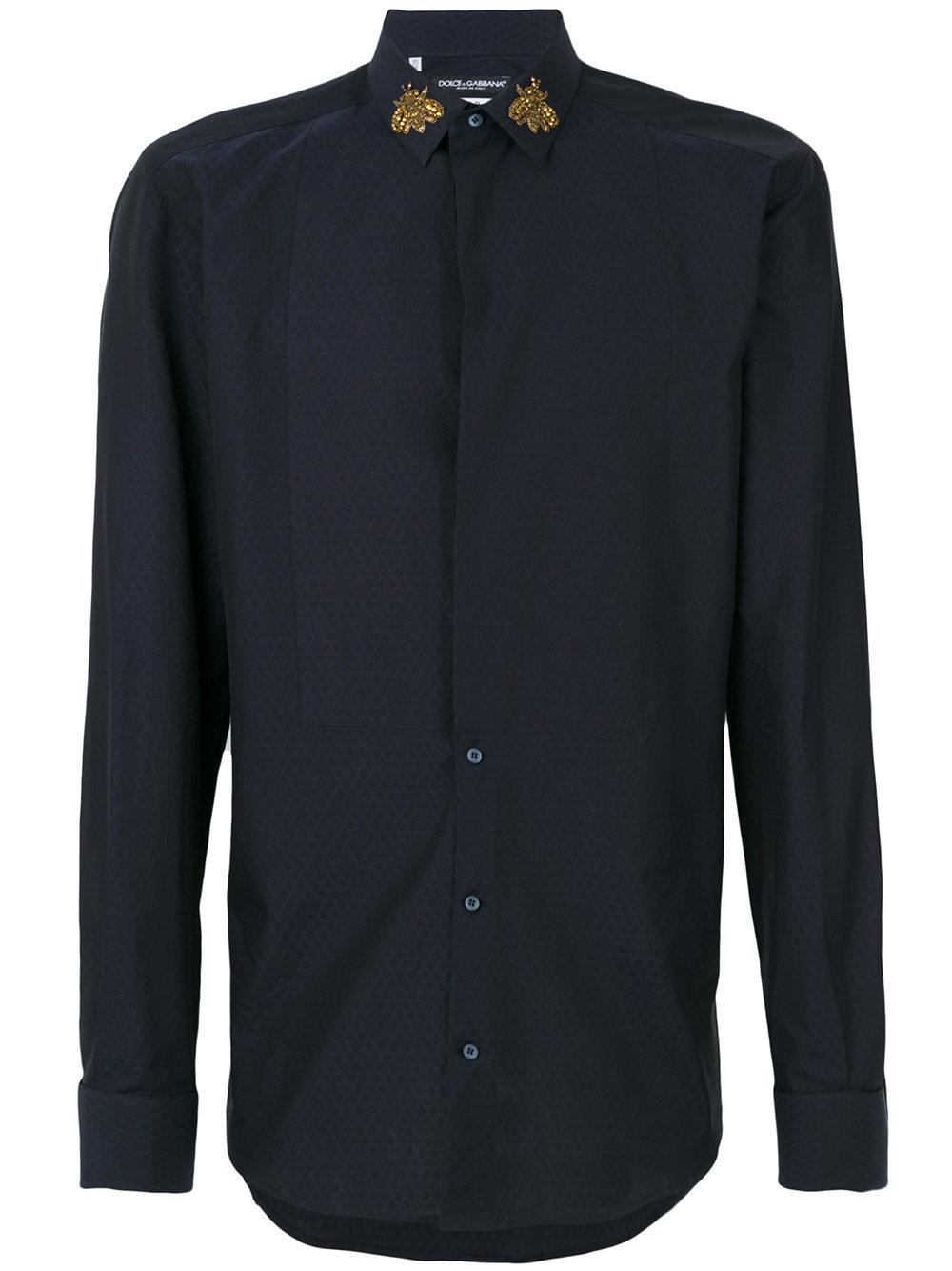Lyst dolce gabbana diamond check shirt in blue for men for Diamond and silk t shirts