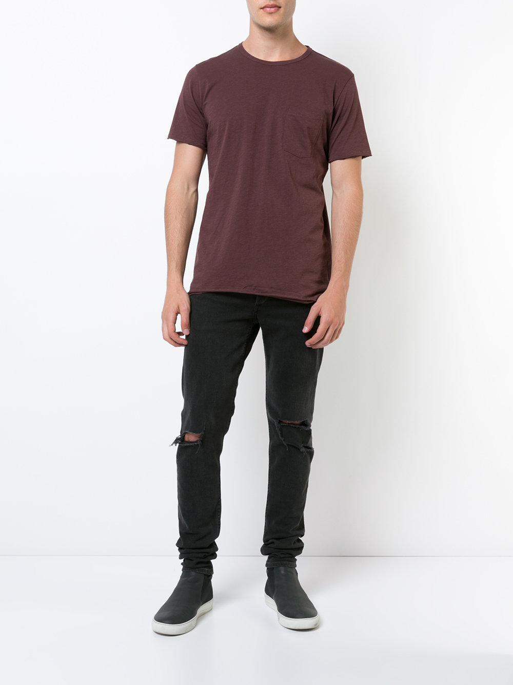Lyst rag bone raw edge t shirt in purple for men for Rag bone shirt