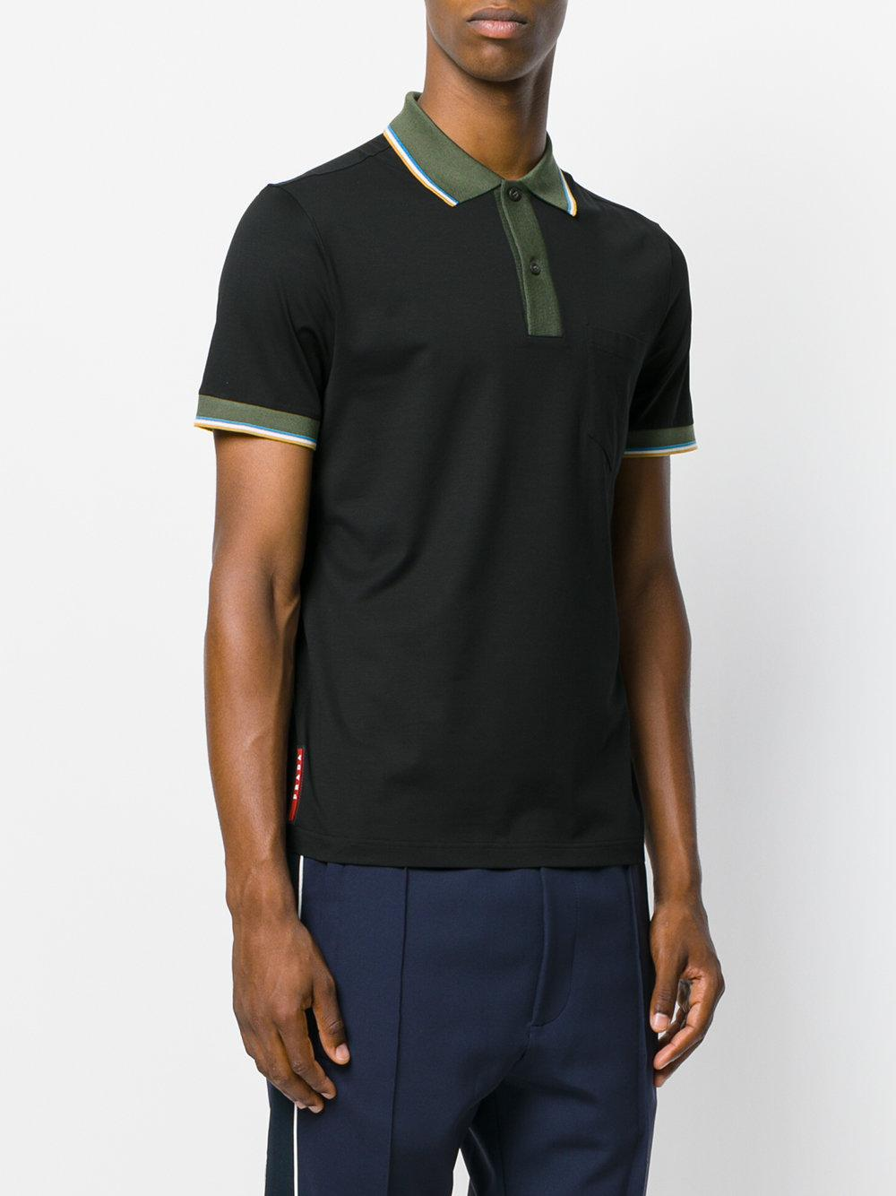 Lyst prada stretch polo shirt in black for men for Stretch polo shirt mens