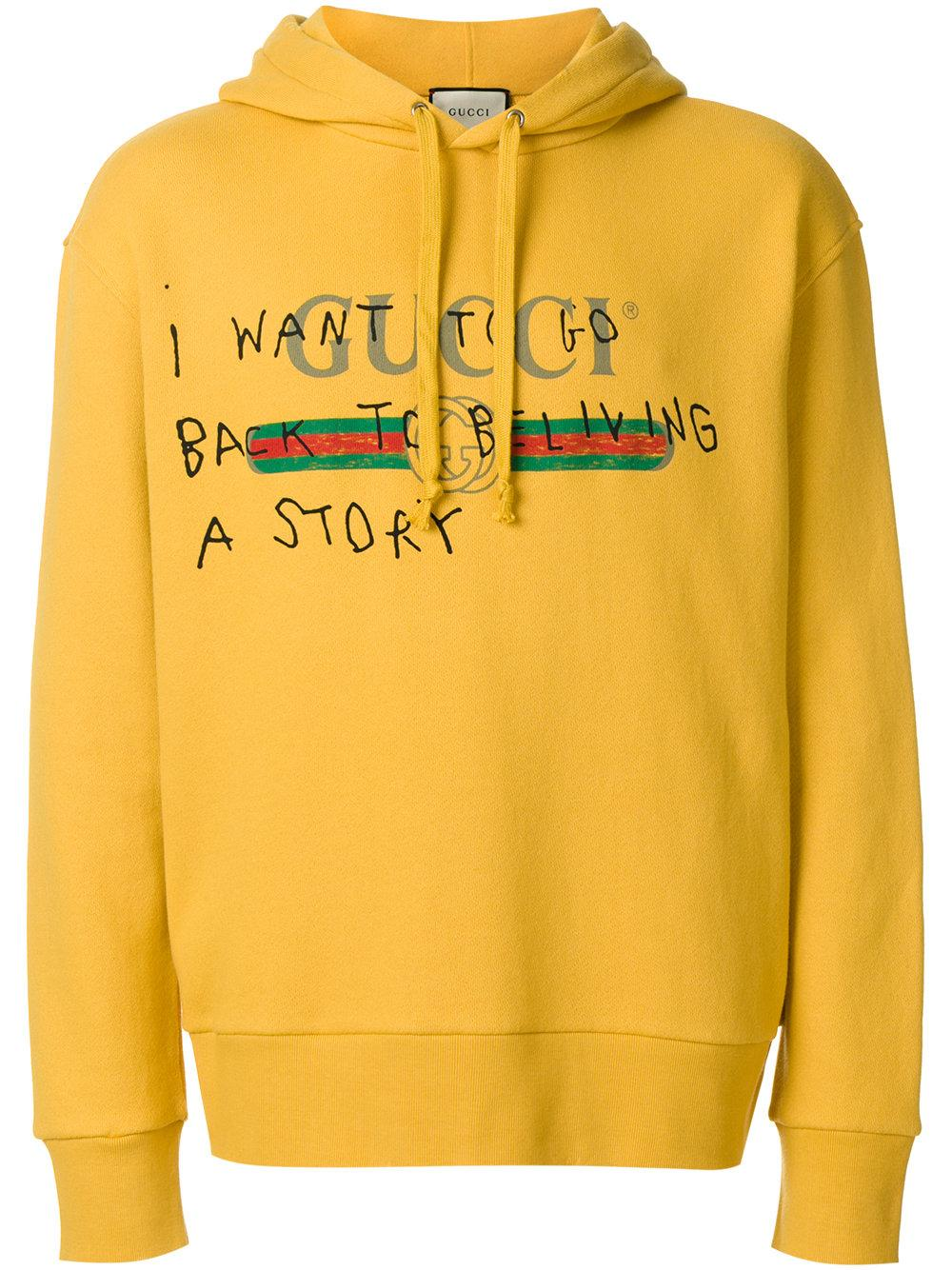 48bad5c26 Gucci Coco Capitán Logo Hoodie in Yellow for Men - Lyst