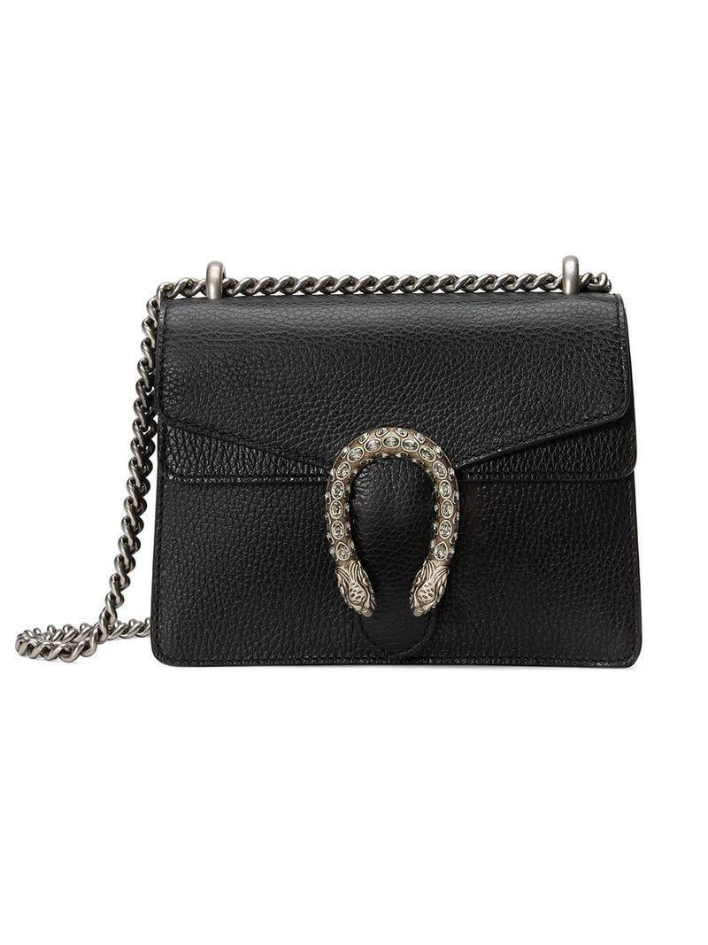 8af123f7eb9 Gucci Black Dionysus Mini Leather Bag in Black - Lyst