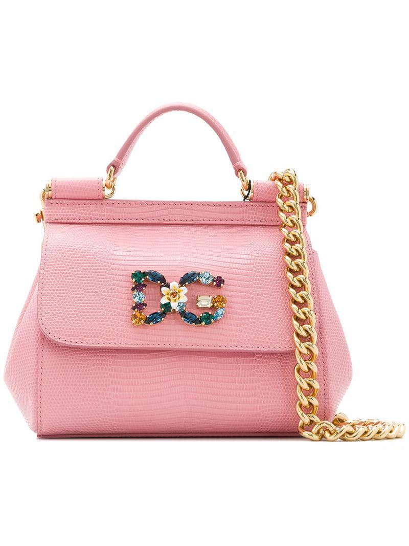 c60192aa75 Lyst - Dolce   Gabbana Mini Sicily Tote in Pink - Save 20%