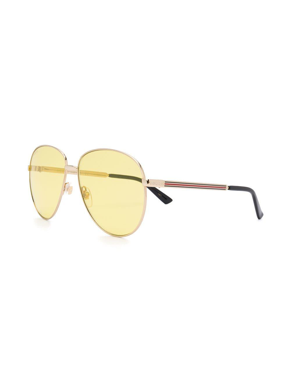 52d1d155d61 Lyst - Gucci Aviator-style Sunglasses in Metallic for Men