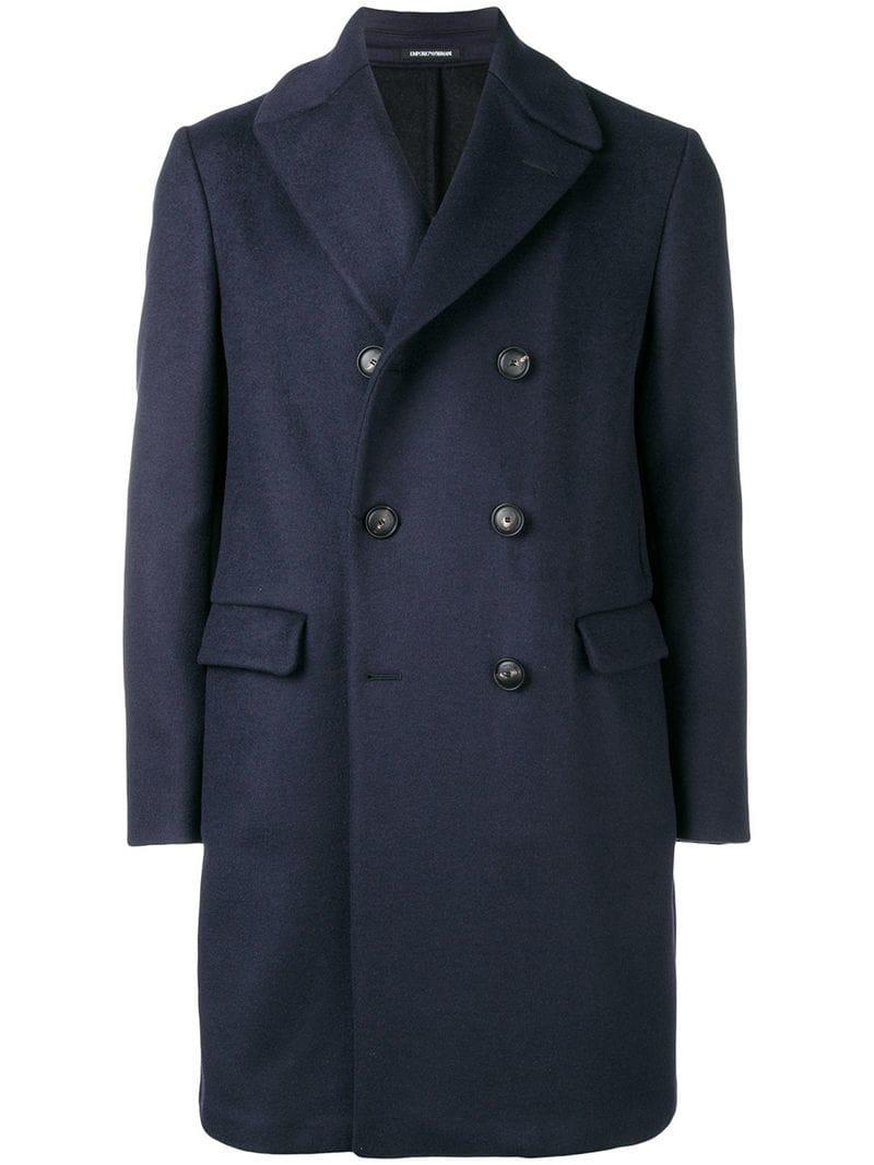 9a825b842ae0 Emporio Armani Double Breasted Coat in Blue for Men - Lyst