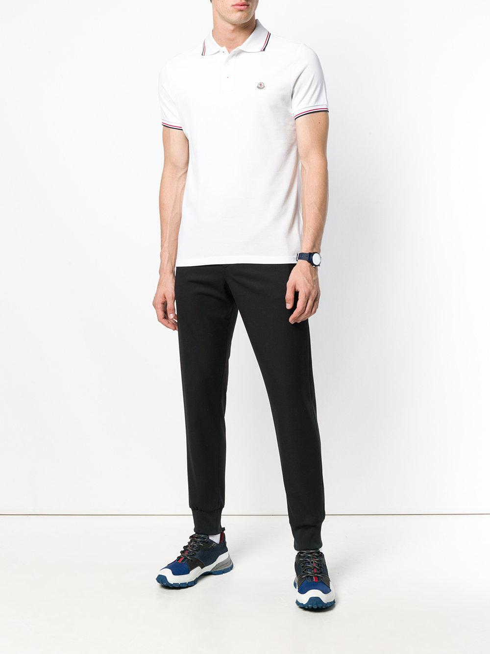 3cfd903d2 Lyst - Moncler Striped Trim Polo Shirt in White for Men - Save 35%