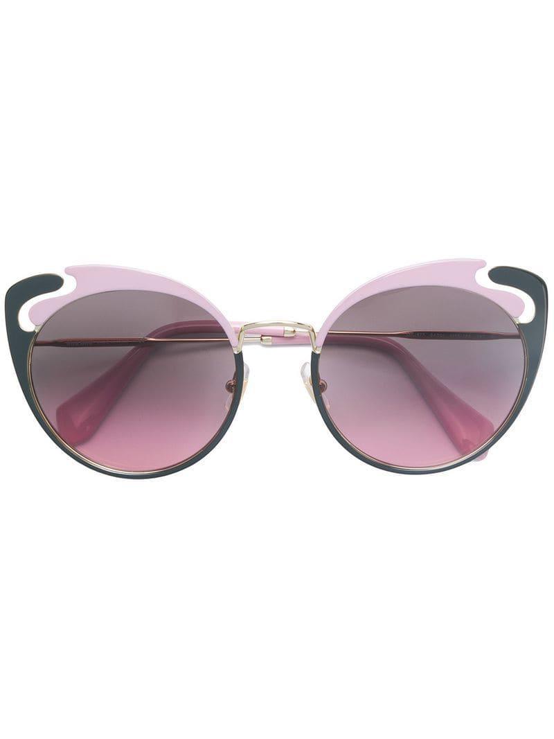 079428873 Miu Miu Cat-eye Frame Sunglasses in Metallic - Lyst