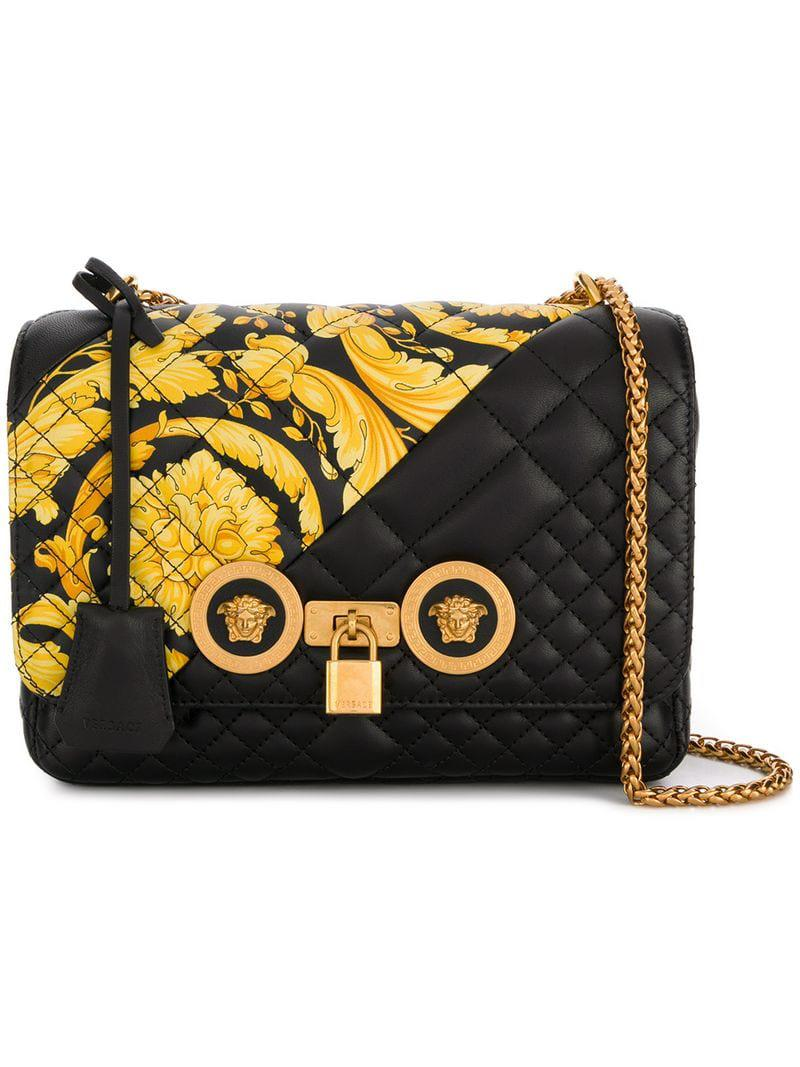 cbf5814c6d Versace Gold Hibiscus Icon Bag in Black - Lyst