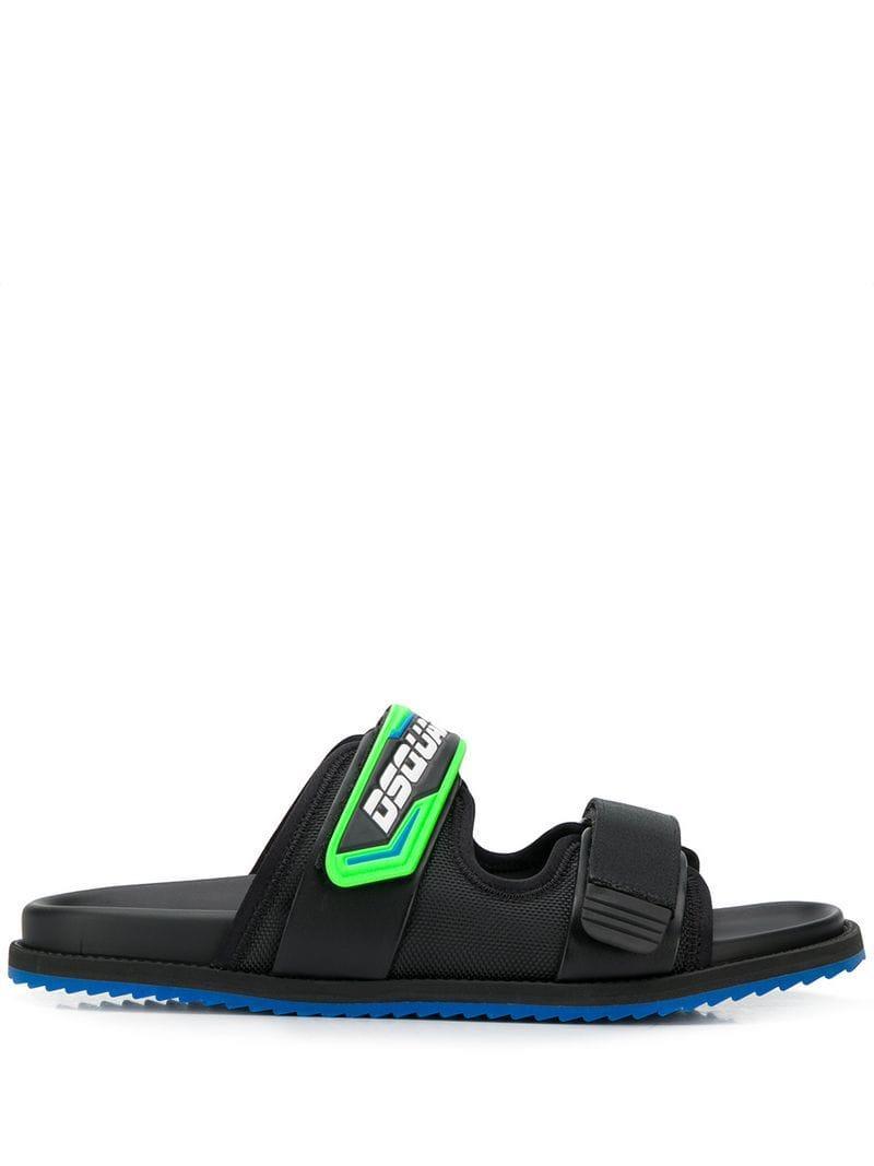 ec7101bee Lyst - DSquared² Logo Strap Sandals in Black for Men