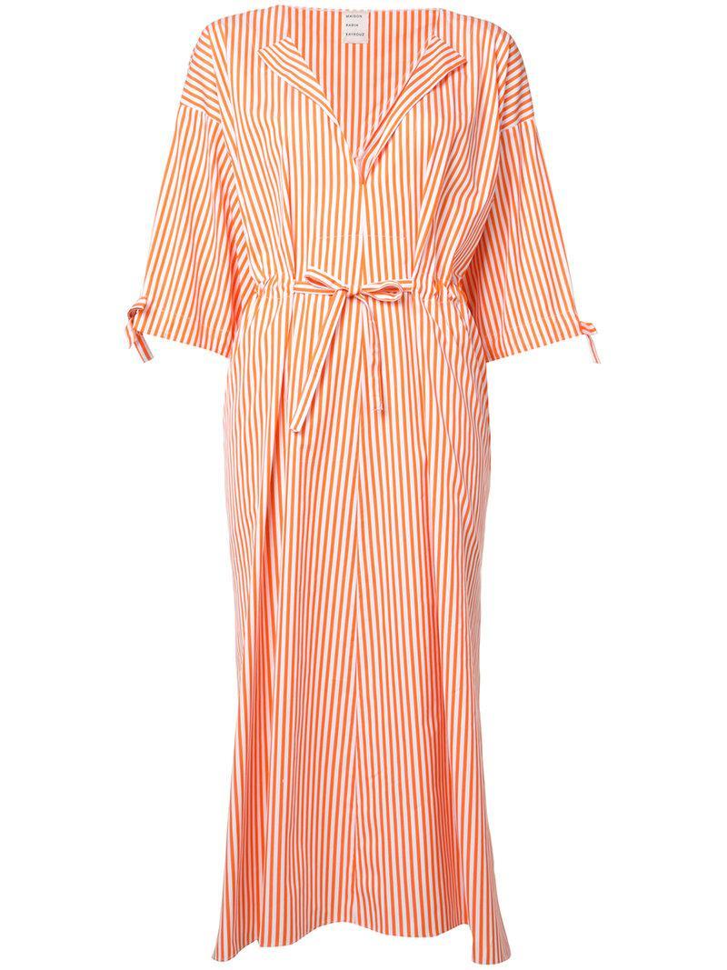 27e53c4c94dc0 Maison Rabih Kayrouz Striped Midi Dress in Orange - Lyst