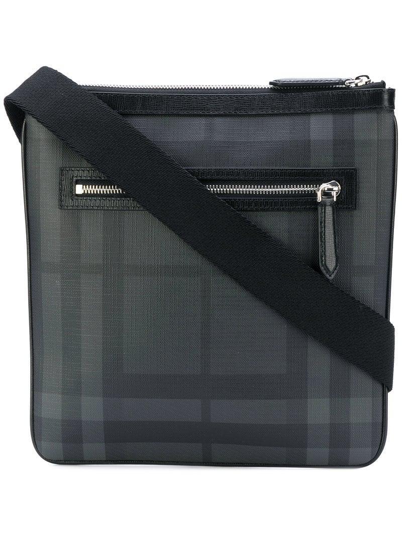 Lyst - Burberry Leather Trim London Check Crossbody Bag in Black for Men 2688f9236ac8e