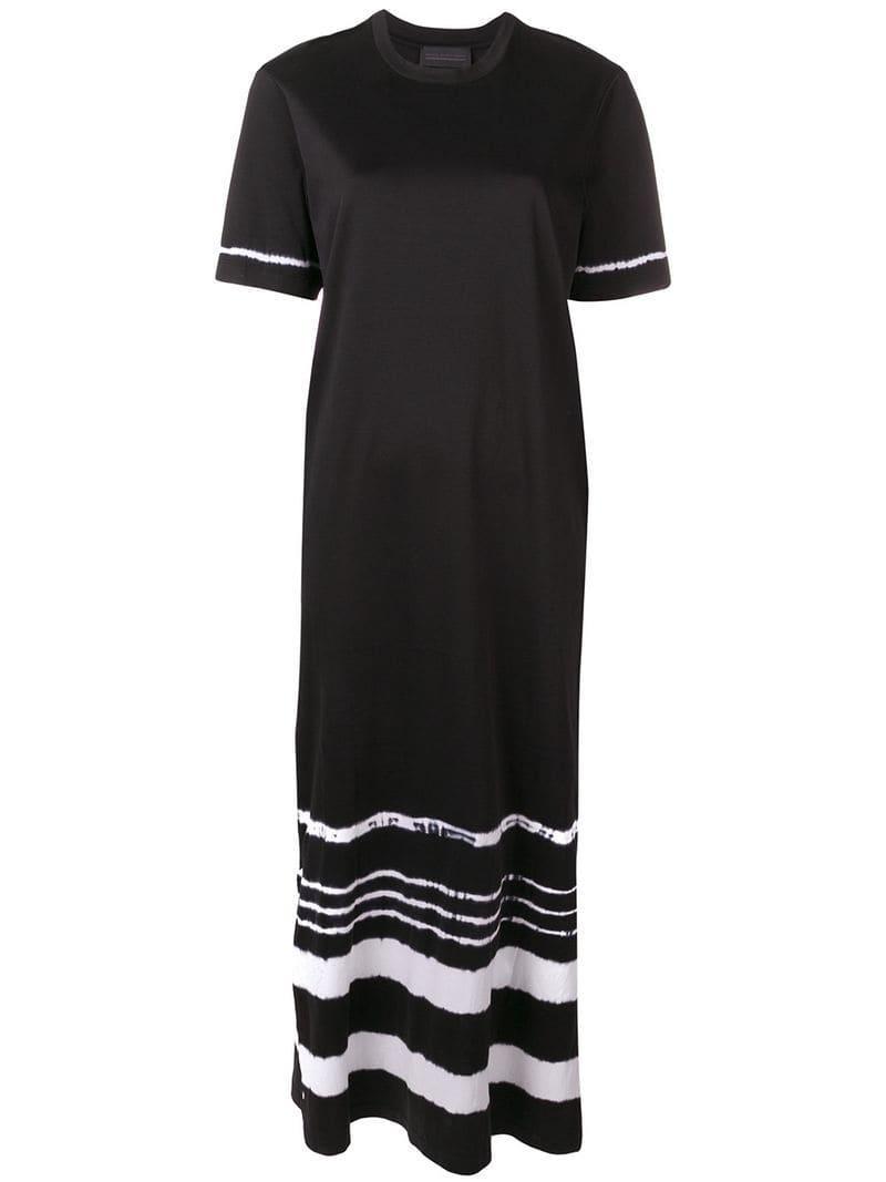 Lyst - Diesel Black Gold Tie-dye Long Dress in Black 79a9b2f48