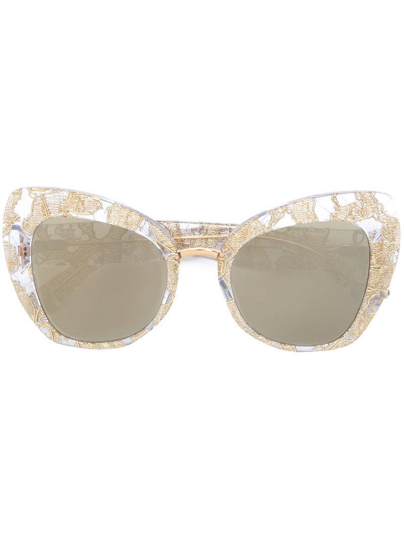 3a8408603c1 Lyst - Dolce   Gabbana Lace Oversized Cat-eye Sunglasses in Metallic