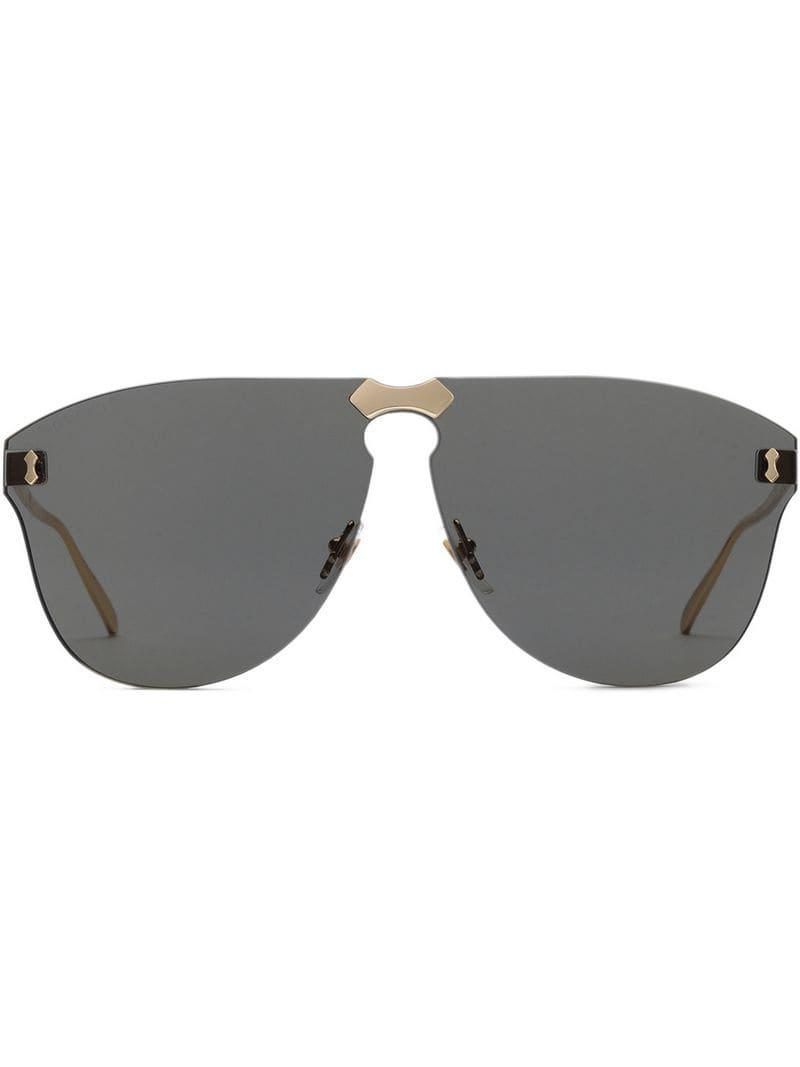 aff182c92ac Gucci Aviator Rimless Sunglasses in Metallic for Men - Lyst