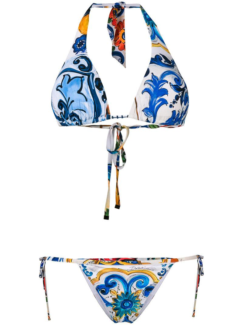 a201b3b499 Dolce   Gabbana Majolica Print Bikini in Blue - Lyst