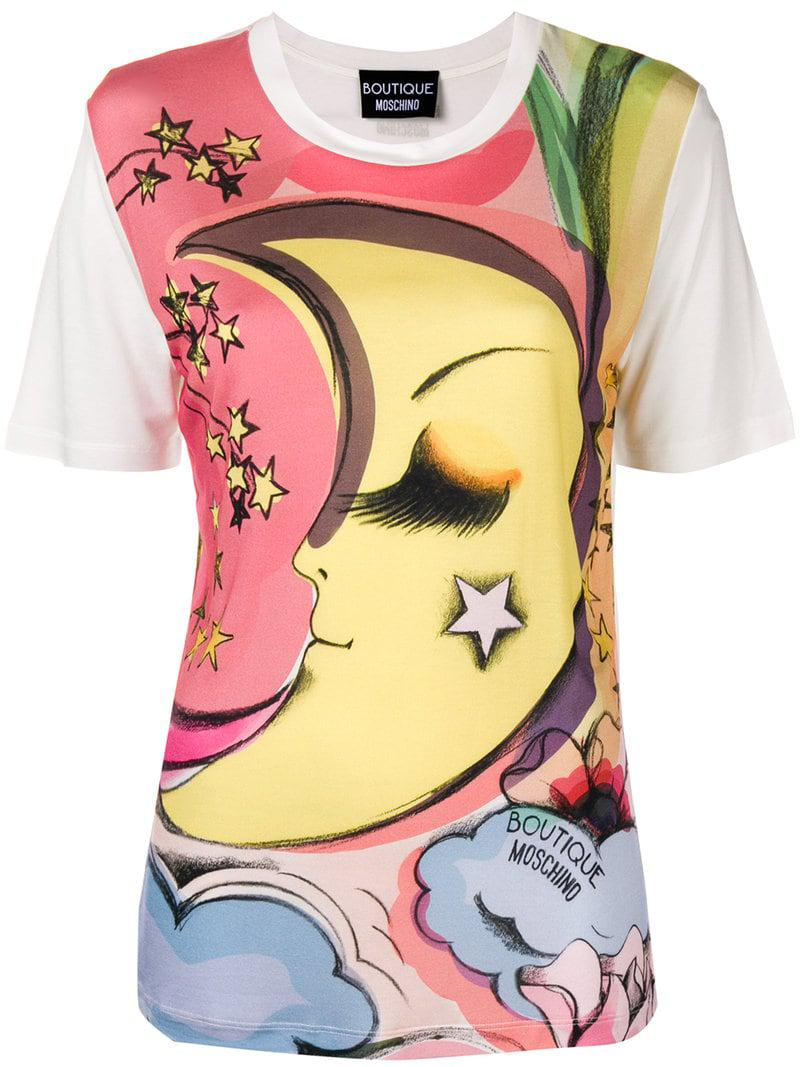 bdaafe4f Lyst - Boutique Moschino Moon Print T-shirt in Pink