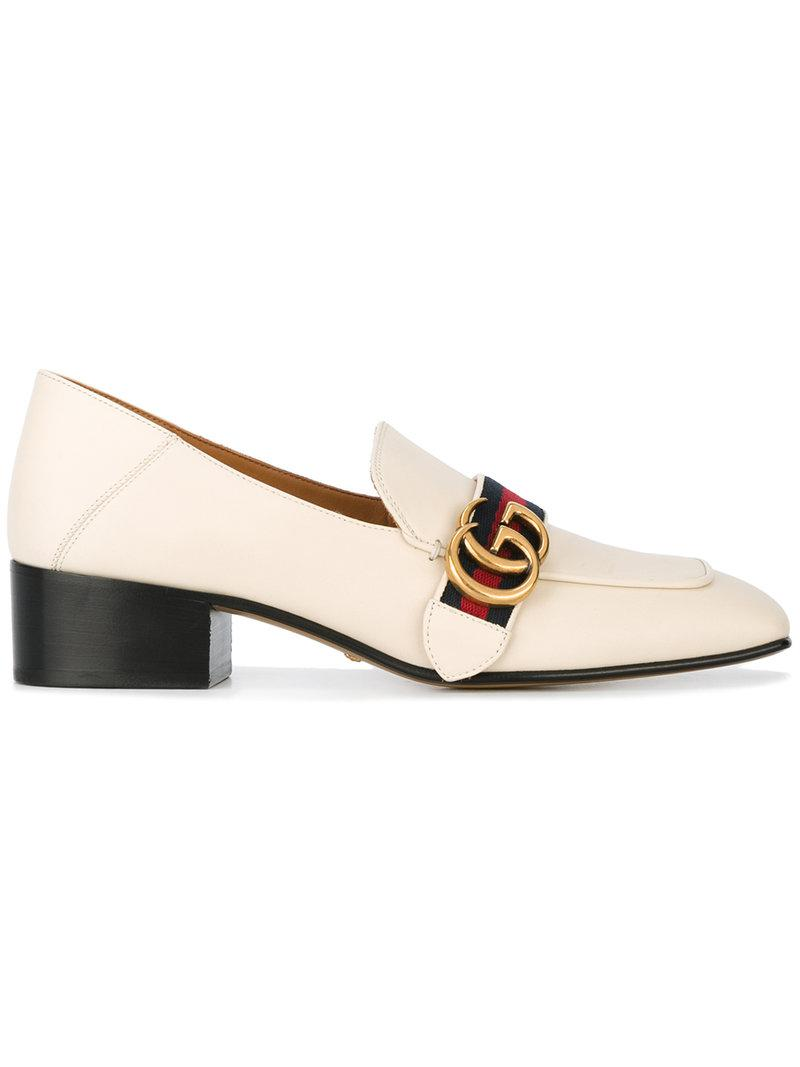 45bc5c7f55e8 Lyst - Gucci Peyton Loafers in White