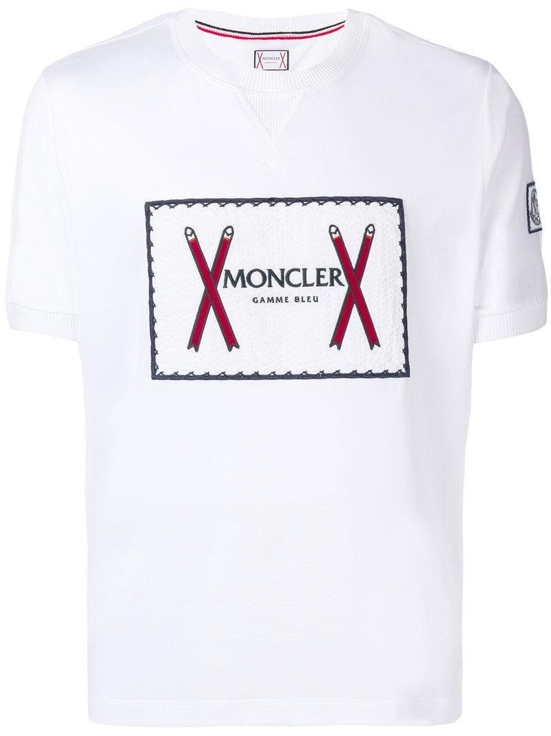 5229a032290 Lyst - T-shirt à logo brodé Moncler pour homme en coloris Blanc