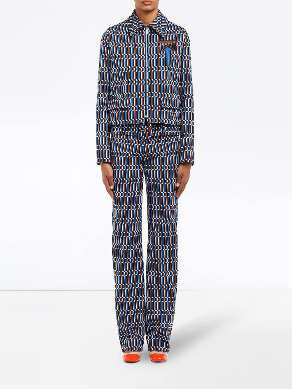 61f03a556 Lyst - Prada Geometric Jacquard Jacket in Blue