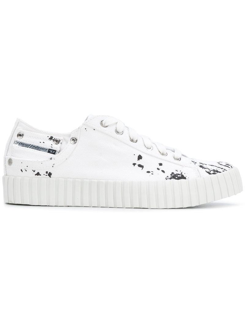 paint splatter low-top sneakers - White Diesel ItCvzwFB
