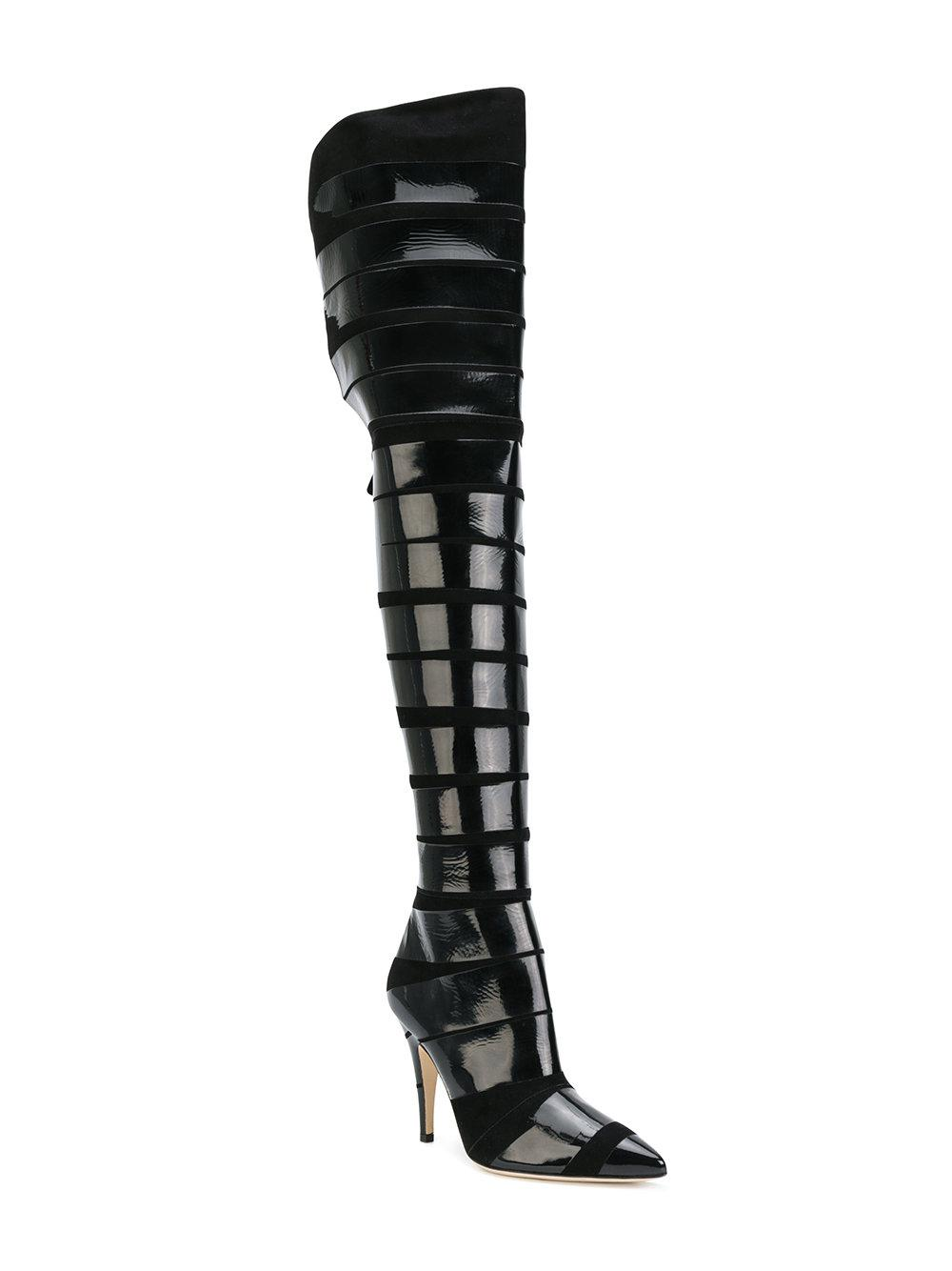 977295842b7 Moschino Patent Stripe Thigh Boots in Black - Lyst