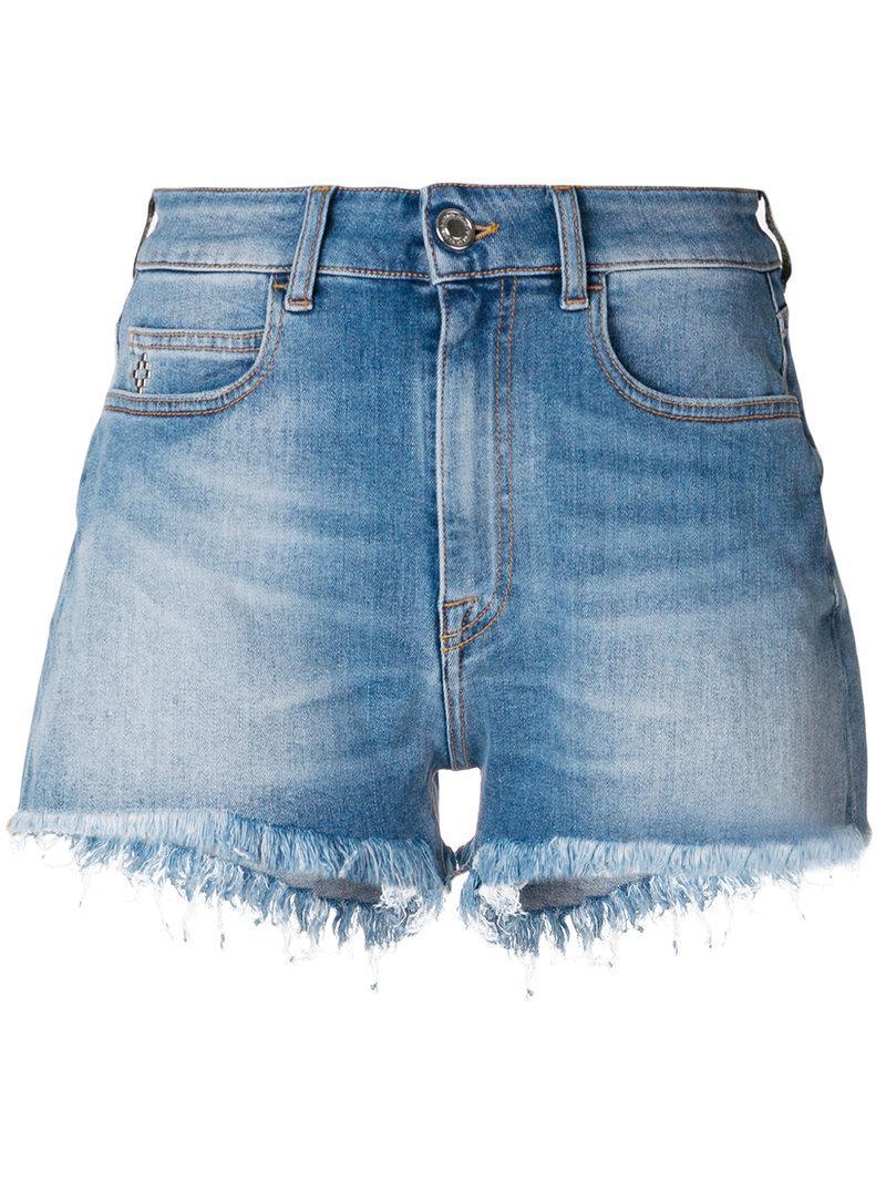 floral print denim shorts - Blue Marcelo Burlon HT1LowMhjq