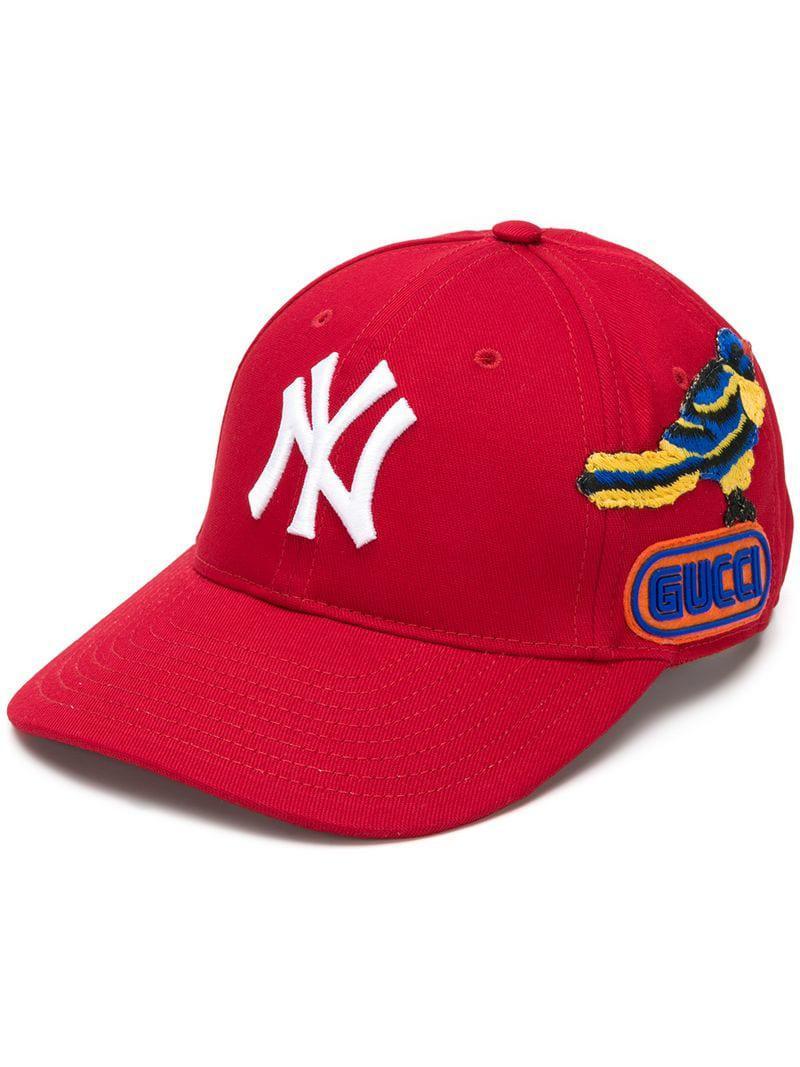 Lyst - Gorra de béisbol NY Yankees Gucci de color Rojo 4f49fe8865f