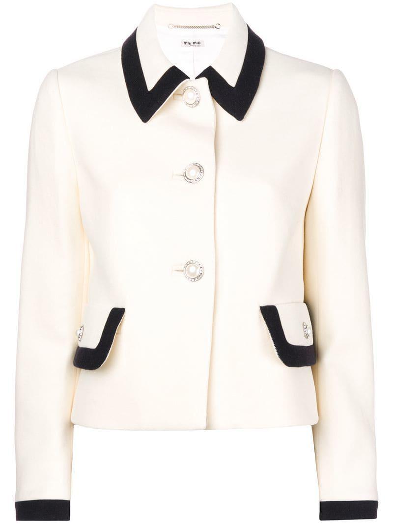 c4e06410300 Lyst - Miu Miu Cady Jacket in White