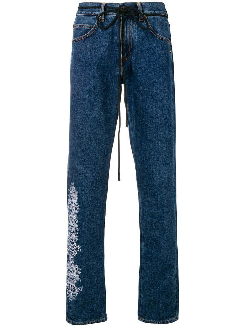 e1968df70dd0 Lyst - Off-White c o Virgil Abloh Graphic Detail Dart Jeans in Blue ...