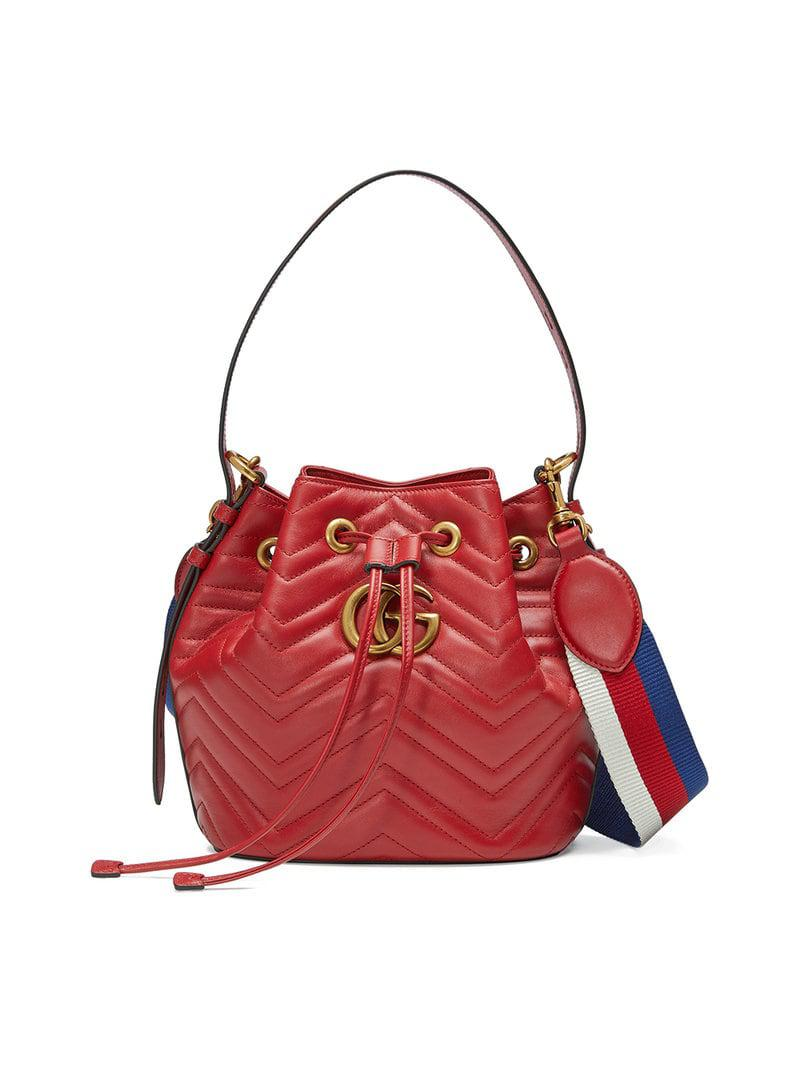 Gucci Red GG Marmont Leather Bucket Bag in Red - Lyst 59eb3859abe5b