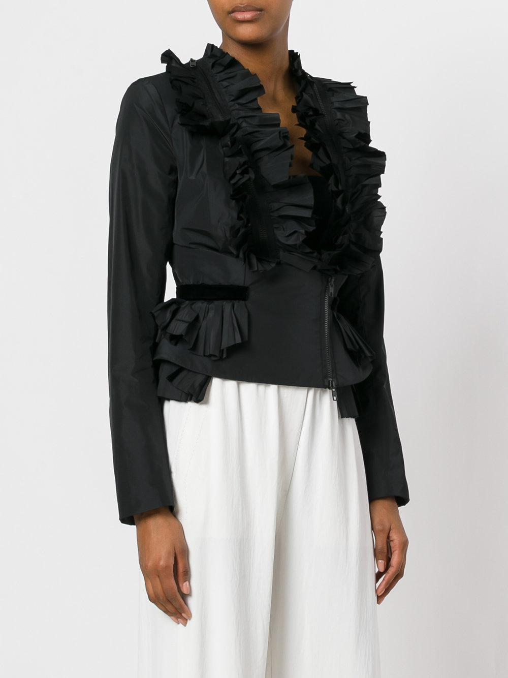 345102ae26e Lyst - Givenchy Frill Zip-up Blouse in Black