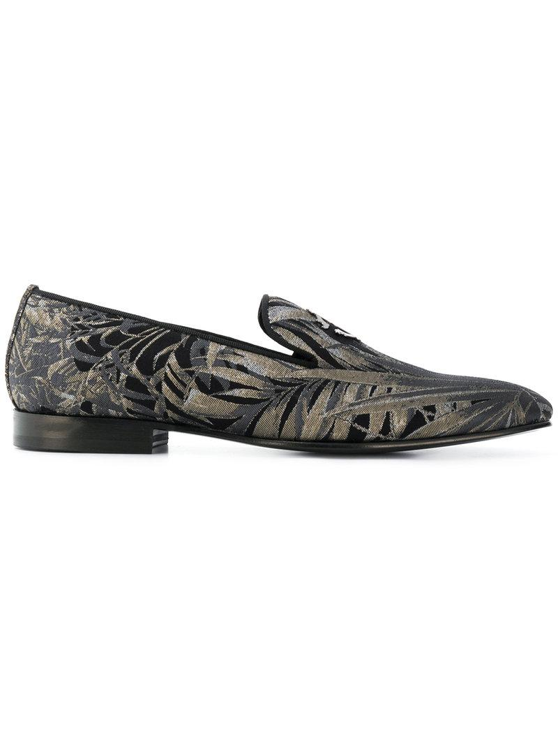 8afabdd279a Lyst - Roberto Cavalli Palm Print Loafers in Black for Men