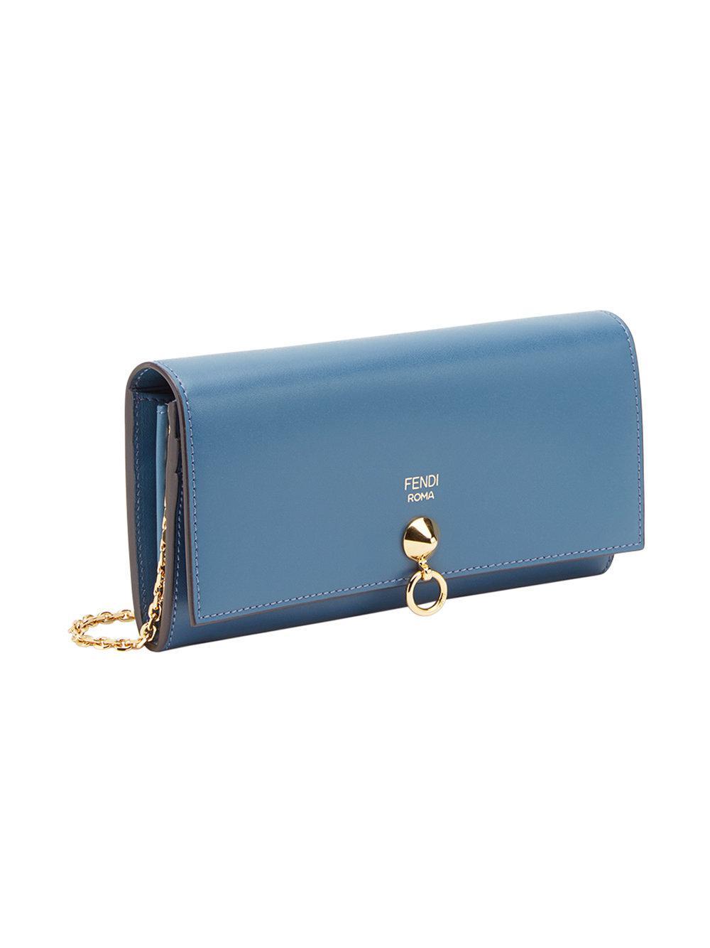 8e038c1147f5 Lyst - Fendi Continental Chain Wallet in Blue