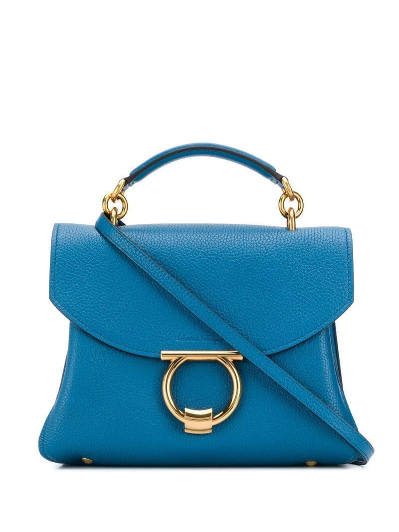 68b0c4b1770b Lyst - Ferragamo Gancini Tote Bag in Blue