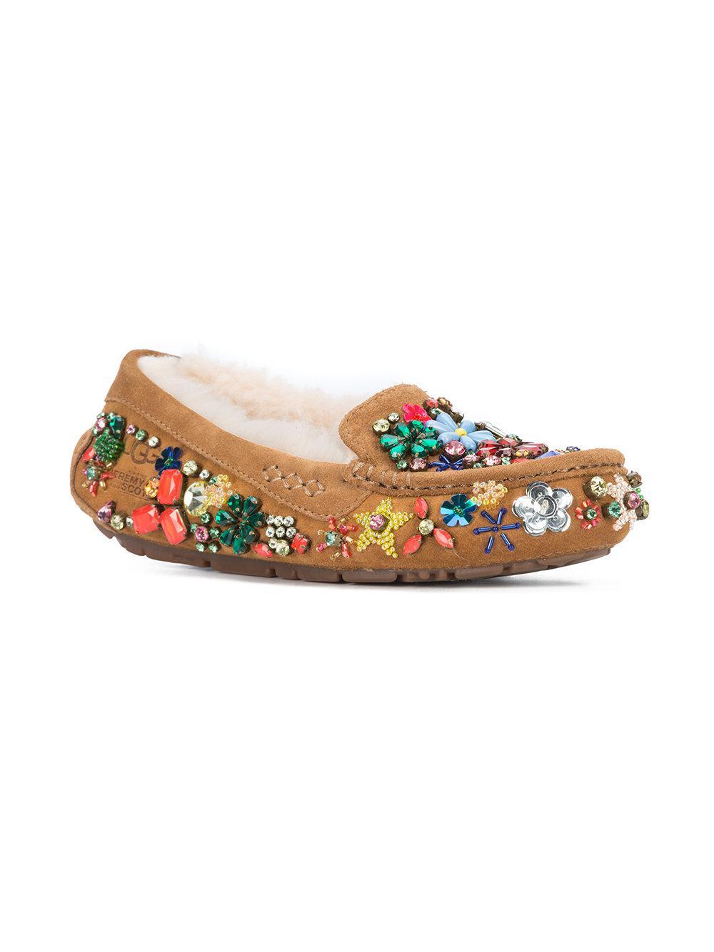 dedaa02fbaa9 Lyst - Jeremy Scott Ansley Jeweled Loafers in Brown