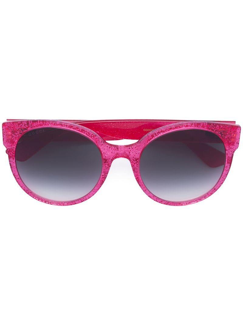7e89b7153b Gucci Round-frame Glitter Sunglasses in Pink - Save 7% - Lyst