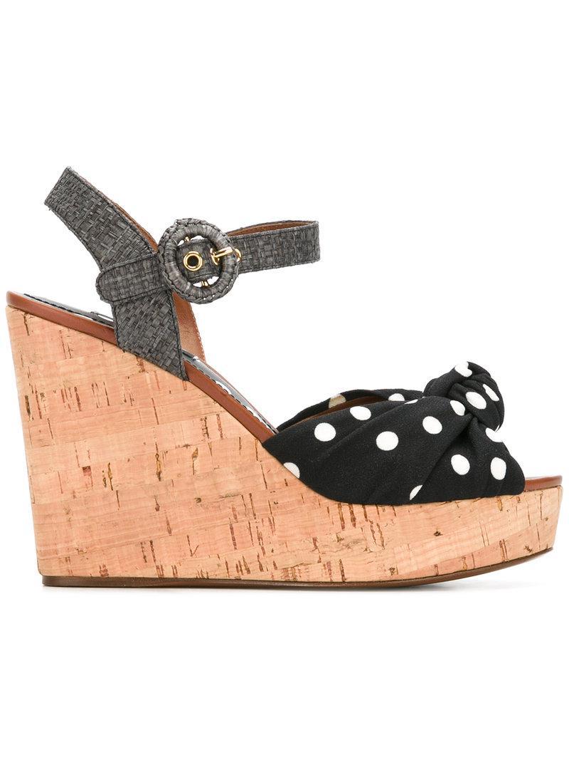 d5e81a77926f Dolce   Gabbana Polka-dot Wedge Sandals in Black - Save ...