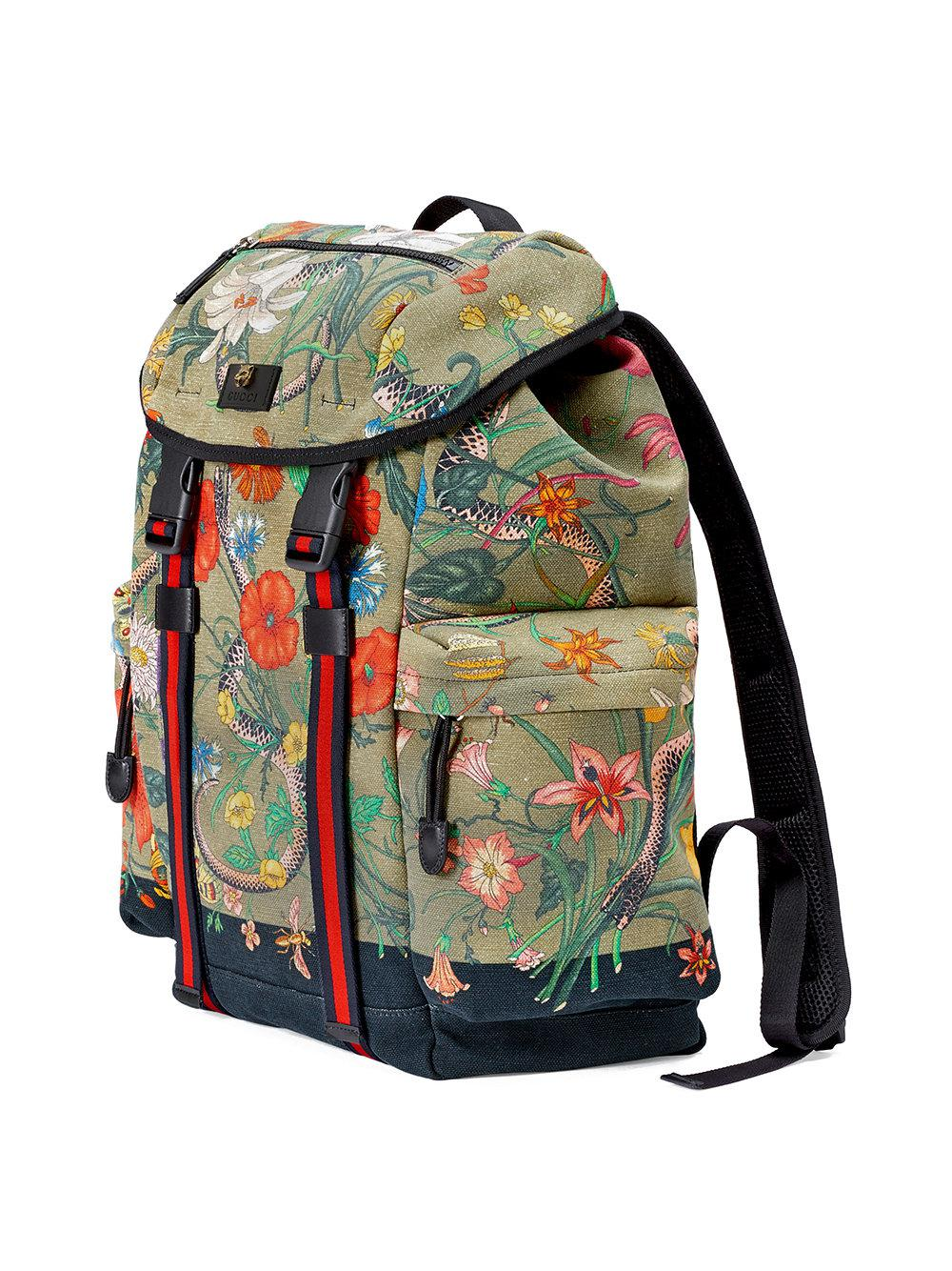 ae376d503e45 Lyst - Gucci Flora Snake Print Backpack in Green