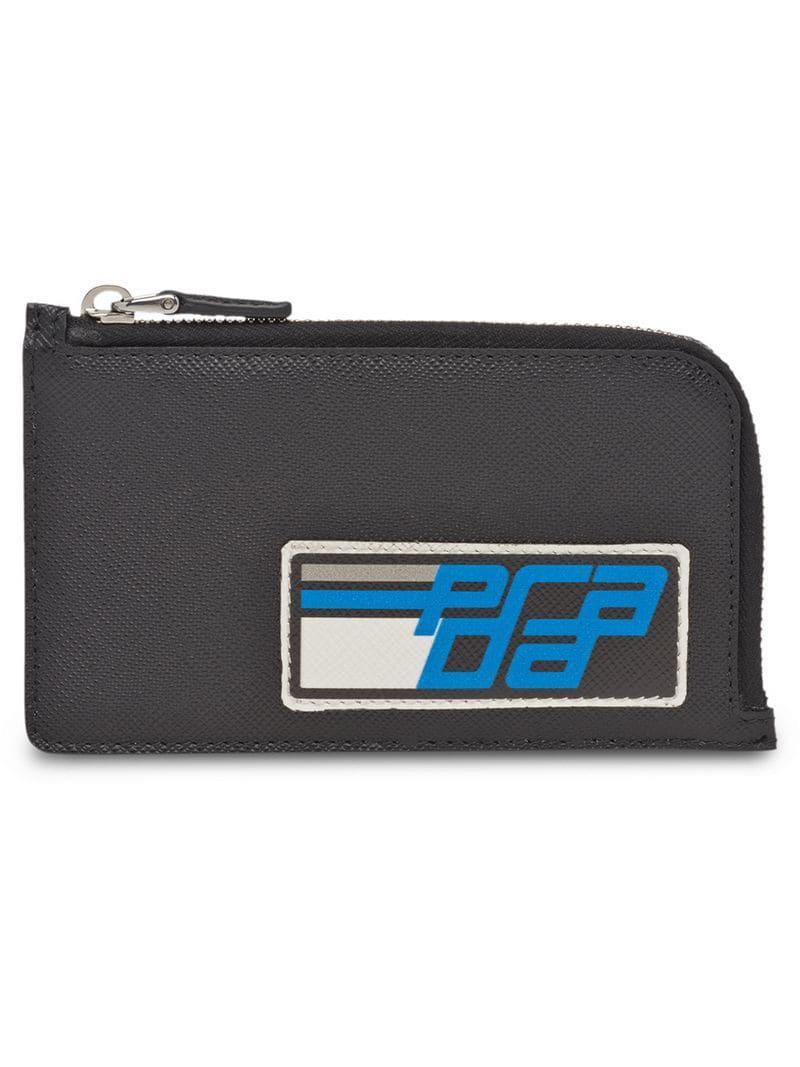 889e9d0c843 Prada Black And Blue Saffiano Credit Card Holder in Black for Men ...