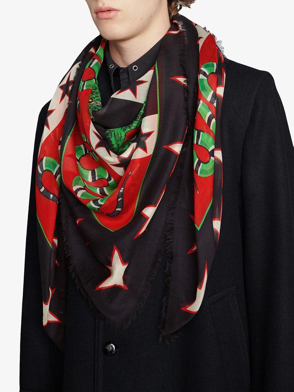 6e394e8378e Gucci - Black Modal Shawl With Symbols Print for Men - Lyst. View fullscreen