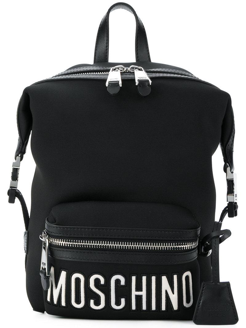 5789039390502 Moschino - Black Front Logo Sports Backpack - Lyst. View fullscreen