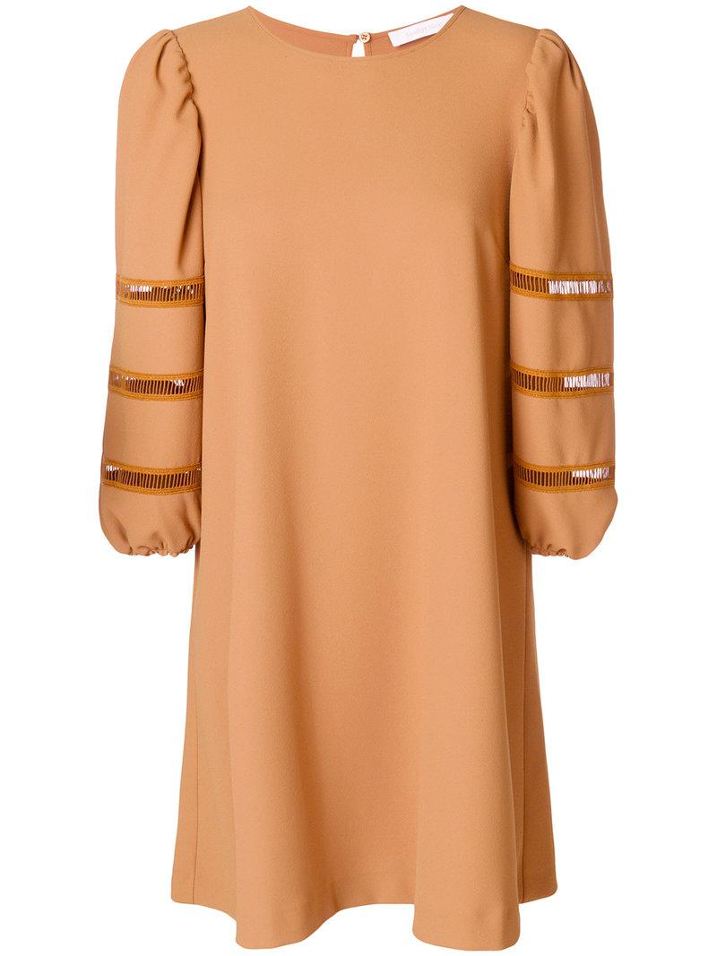 cutout-detail shift dress - Brown See By Chlo svapfPNm