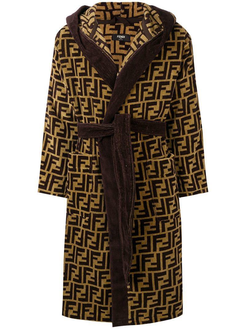 9546850ac9 Lyst - Fendi Jacquard Ff Logo Robe in Brown for Men - Save 11%