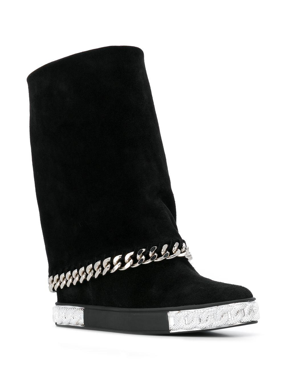 a83eaa02f0b0 Casadei Chain Trimmed Boots in Black - Lyst