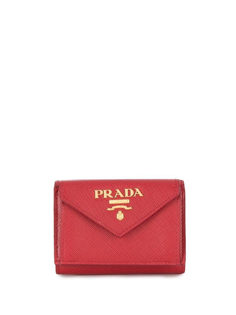 3efbaa1d9555 Prada - Red Small Gold-tone Logo Flap Purse - Lyst. View fullscreen