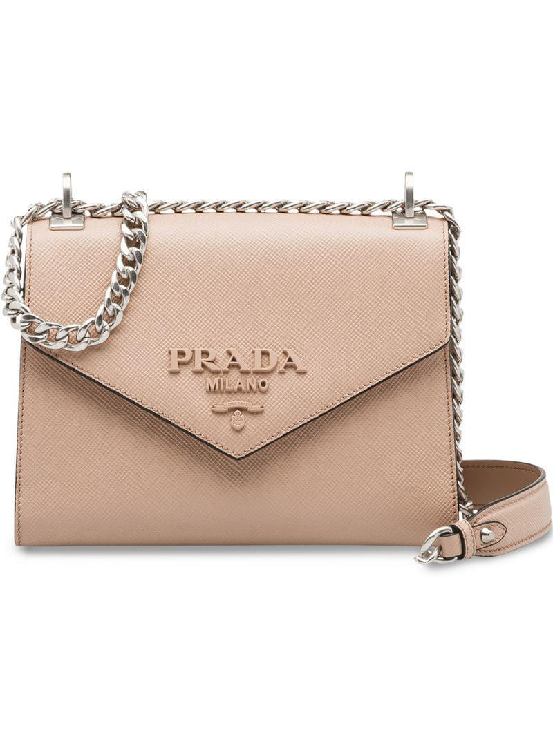229ef6a76f6d Prada Monochrome Saffiano Leather Bag in Pink - Lyst